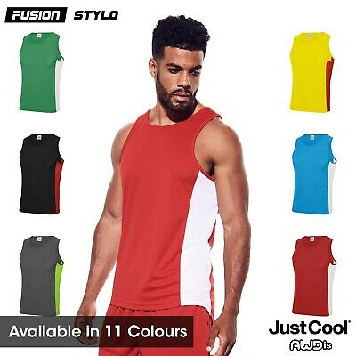 Mens Cool Contrast Gym Vest Wickable Breathable Sports Running Training JC008