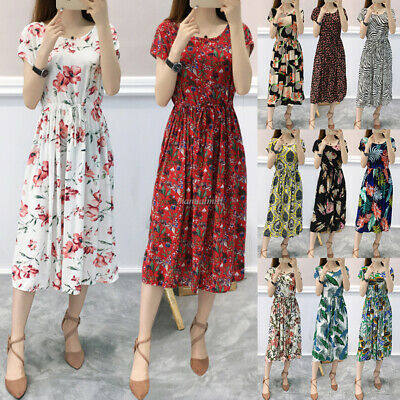 Boho Womens Floral Maxi Dress Party Evening Summer Beach Holiday Casual Sundress