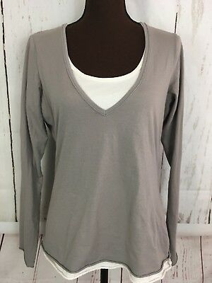 981055d5858 Athleta Womens Large Layered Look Top Long Sleeve Active Shirt Gray  Embroidered
