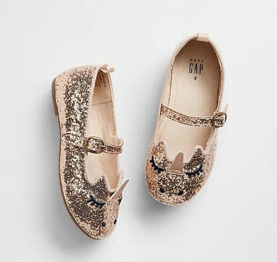 5a3ea667fc6 Baby Gap Girl s Rose Gold Unicorn Sparkle Ballet Flat Shoes Size 5 Toddler  NWT