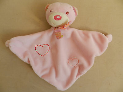 Doudou Peluche Ours Babyclub Plat Triangle Rose Coeurs