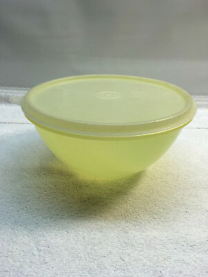 Vintage tupperware 235 wonderlier bowl pastel yellow sheer seal