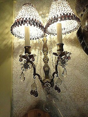 Vintage/Antique Crystal/Brass 2 Light, Wall Hung, Lilac,Clear, Electric