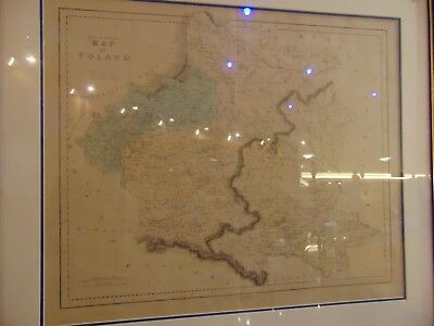 Framed Poland map Gall & Inglis