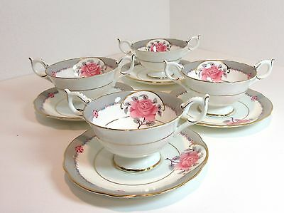 4 Sets Vintage Coalport DEMOCRAT BOUILLON CUPS & SAUCERS Cream Soup Bowl
