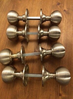 4x Pairs Satin chrome Beehive Handles Antique style door Knob Reeded DOOR HANDLE