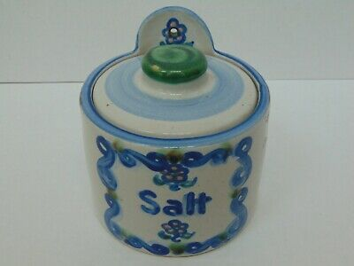 M.A. Hadley Pottery Covered Cylinder Salt Cellar w/Hand Painted Flower Decals