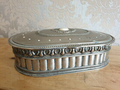 Beautiful Vintage Oval Silver Colour Ornate Design White Metal Trinket Box