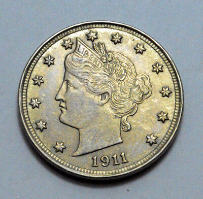 """1911 UNC MS LIBERTY HEAD """"V"""" NICKEL US Coin OLD, Better Date 5c Rich Nat.Toning!"""