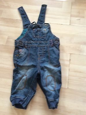 Marks And Spencer, Age 3-6 Months Blue Denimn Dungarees And Green Top, Pre-Loved