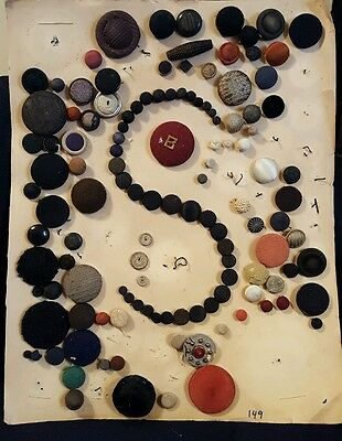 card of vintage antique buttons sewing collectible assortment cloth covered