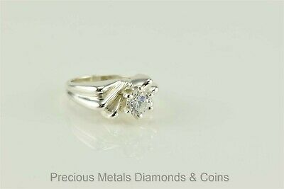 Puffy Triple Grooved Band Sterling Silver 1.5ct Cubic Zirconia Ring 925 Sz: 5