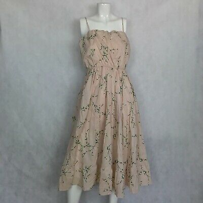 40a87e887232 Express Floral Empire Waist Crinkle Midi Dress Pink Blush Size M NWT NEW