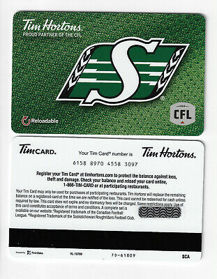 Saskatchewan Roughriders 2018 Tim Hortons Gift Card TimCard NEW CFL