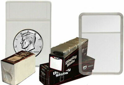 125 BCW LARGE DOLLAR COIN SIZE DISPLAY SLABS /& WHITE FOAM INSERT HOLDERS