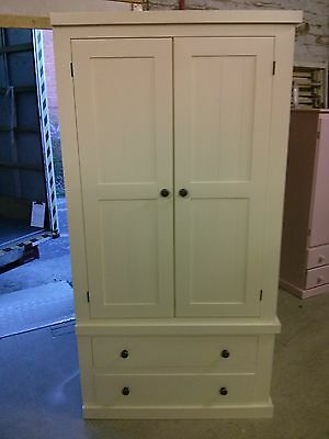 Painted Pine Shabby Chic Edwardian Gents 2 Drawer Cream / Metal Stud Handles