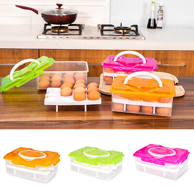 Portable Double Layer Refrigerator Egg Box Case 24 Grid Holder Storage Container