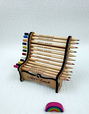 Personalised Wooden 12 Colouring Pencils on a Bench Gift for Kids Birthday