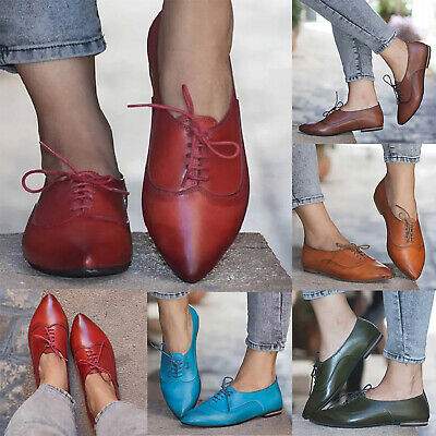 9f0c7998bd Women's Flat Heel Oxfords Brogues Lace Up Pointed Toe Casual Leather Pumps  Shoes