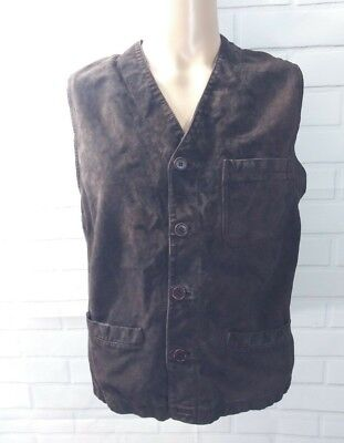 BRUNO MAGLI Men Vest Jacket Wool Knit Size M Leather Brown Riding Made in Italy