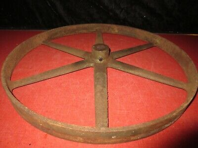 "Vtg Cast Iron Keyed 17"" Offset Spokes Well Water Pump Belt Pulley F E Myers 4508"