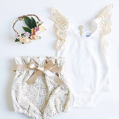 US Newborn Baby Girl Floral Romper Top + Lace Shorts Pants Outfits Clothes Set