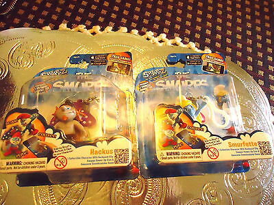 """Set Of Two New In Box """"Smurfette & Hackus"""" Keychains & Free Game..."""
