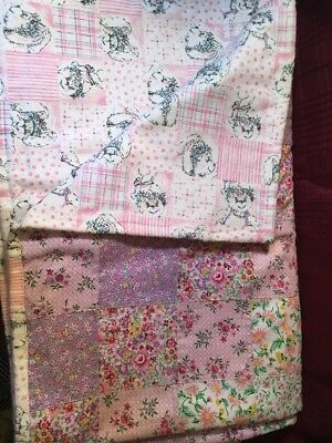Handcrafted BABY QUILT...flannel back...sweet colors...Never Used! Now Free S&H!