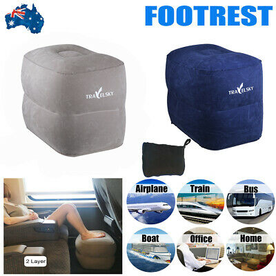 Plane Train Travel Inflatable Leg Foot Neck Rest Footrest Pillow Relaxing Pad AU