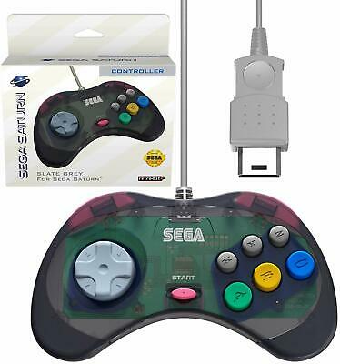 Retro-Bit Official Sega Saturn Controller Pad - Original Port - Slate Grey