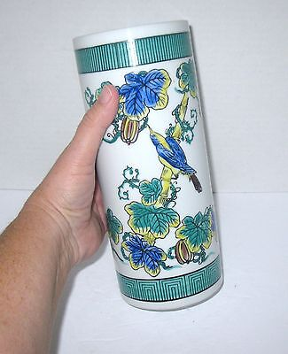 """Asian FAMILLE ROSE Style 10"""" tall Cylindrical Brush Pot? Vase Floral Bird Bamboo"""