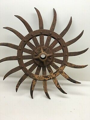 Antique Farm/Industrial Metal/Cast Iron Rustic CULTIVATOR Spiked Sunflower WHEEL