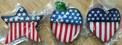 Lot of 3 Patriotic USA American Flag Fridge / Car Magnets - Apple, Heart, & Star