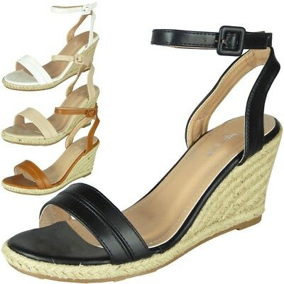 Womens Ladies Ankle Strap Espadrilles Summer Shoes High Heel Wedge Sandals Size