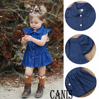Toddlers Baby Girls Fly Sleeve Denim Dress Party Princess Sundress Cloth Outfit