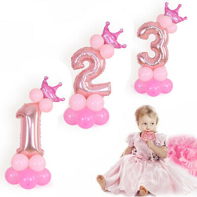 32 inch Number Foil Balloons Pink&Blue Digit Helium Ballons Birthday Party Decor