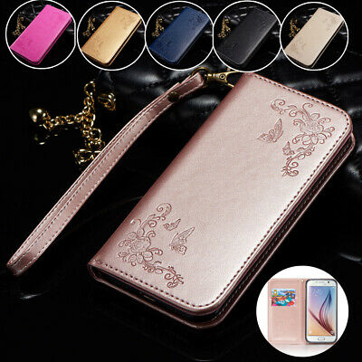 For Samsung S10 S9 J6 A8 Magnetic Leather Emboss Flower Wallet Stand Case Cover