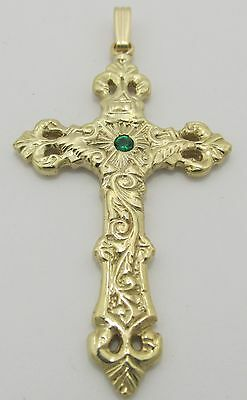 Fine Jewelry 14K Yellow Gold Plated Cut Nugget Cross Pendant Religious Charm 2.3 12 grams
