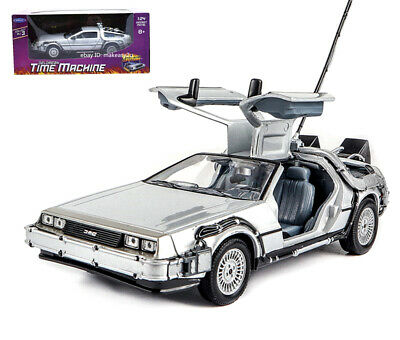 Welly 1:24 Back to the Future 1 Delorean Time Machine Diecast Model Car Silver