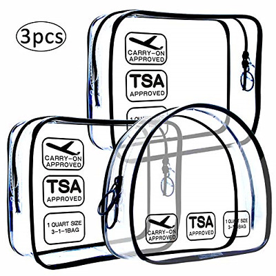 TSA Approved Toiletry Bag, Clear Travel Pouch for Travel Size Toiletries Liquids