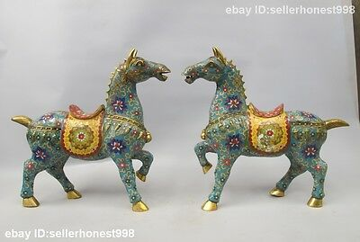 Chinese Bronze Gild Cloisonne Enamel Attract Wealth Horse Horses Statue Pair