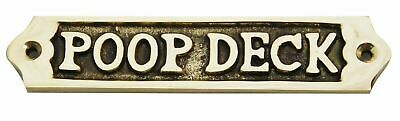 "Vintage Handmade Solid Brass ""POOP DECK"" Door Sign Nautical Antique Home Decor"