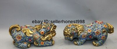 Chinese Bronze Cloisonne Foo Dog Lion Attract Wealth Brave troops Statue Pair