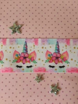 """Unicorn Design Grosgrain Ribbon. 50mm 2"""" Perfect for Hair Bows and other Crafts."""