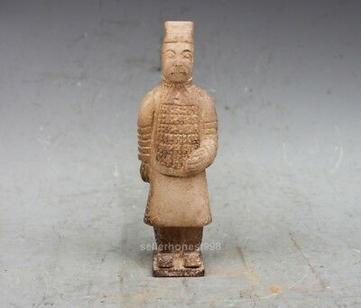 Chinese Jade Stone Carved Terracotta Warriors warrior character Statue