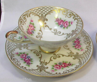 TAZZE ANTICHE PORCELLANA + PIATTINI Bavaria 4 Antique Porcelain Cups & Saucers