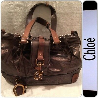 a45c6e4264a7 Vintage Chloe Kerala Genuine Leather Dark Metallic silver with Brown  Satchel Bag