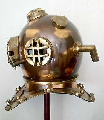 "Antique US NAVY MARK V Copper Brass Made 18"" Boston Mass Diving Divers Helmet"