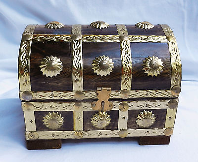 Brass Bound Wooden Cabin Trunk / Pirate Treasure Chest Wood Storage Box - New