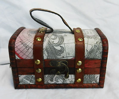 Old Fashioned Map Design Wooden Pirate Chest / Cabin Trunk Trinket Box - NEW